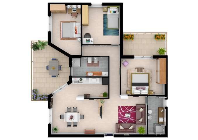 Planimetria 3d arredata per il tuo business immobiliare for 3d rendering online